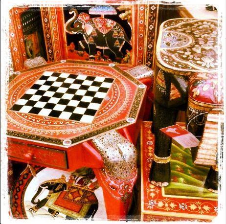 Elephant side and chess tables at World Market